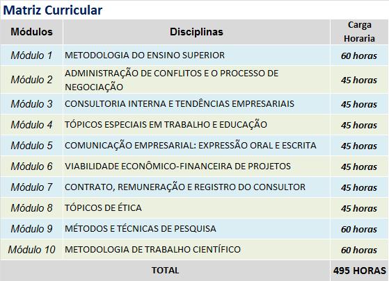 FORMACAO DE CONSULTORES EM ORGANIZACOES MATRIZ