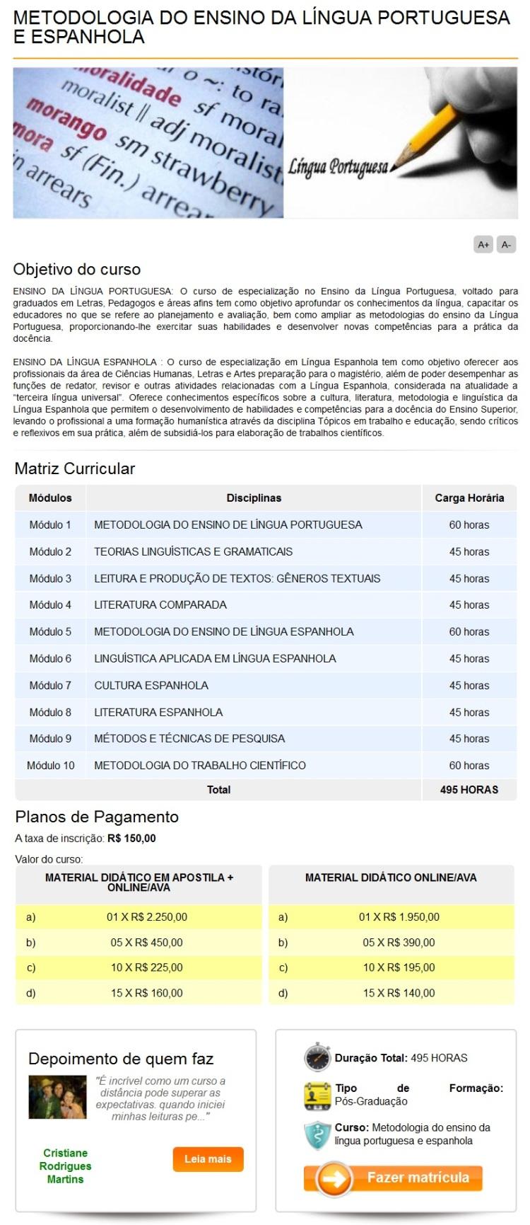 METODOLOGIA DO ENSINO DA LINGUA PORTUGUESA E ESPANHOLA