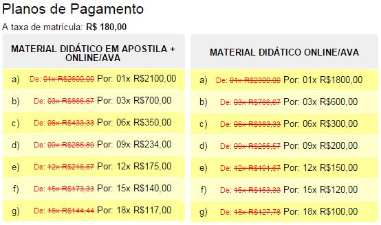 PLANO DE PAGAMENTO